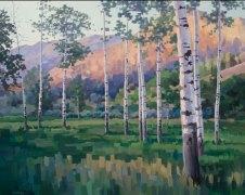 """Aspen Evening"", Acrylic on canvas"
